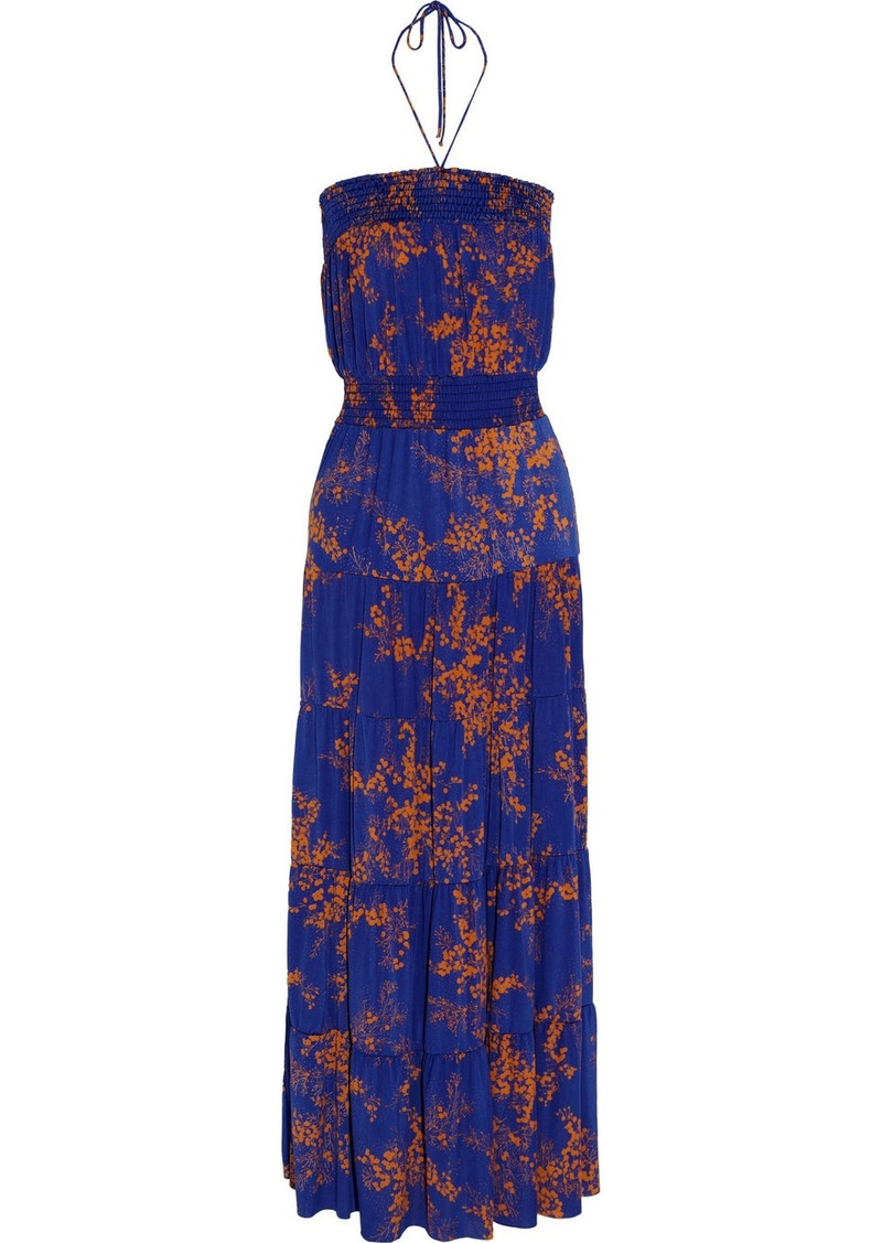 T-Bags Floral-print stretch-satin jersey maxi dress