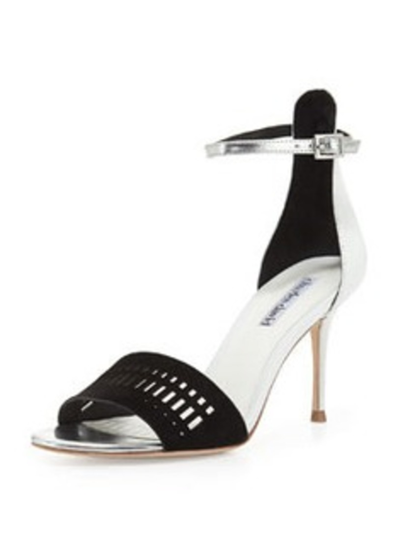 Charles David Margie Suede-Cutout Leather Sandal, Black/White