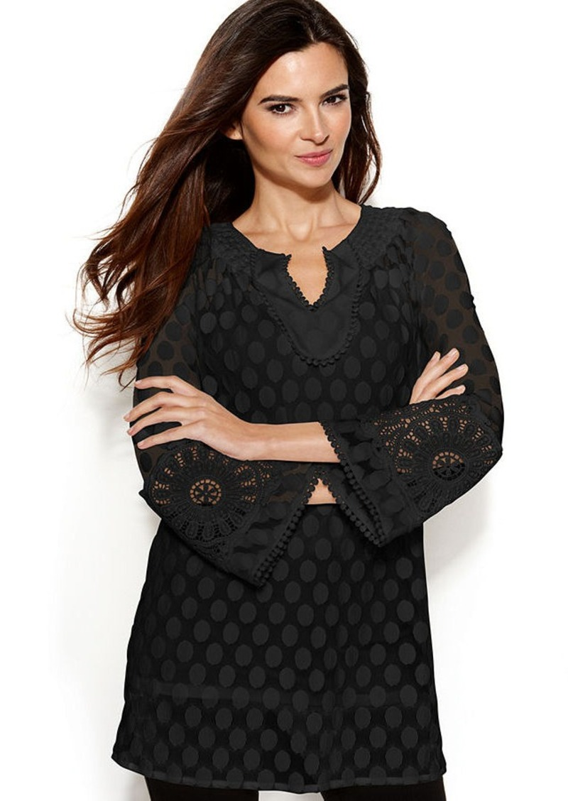 Alfani Crochet-Trim Dot Tunic