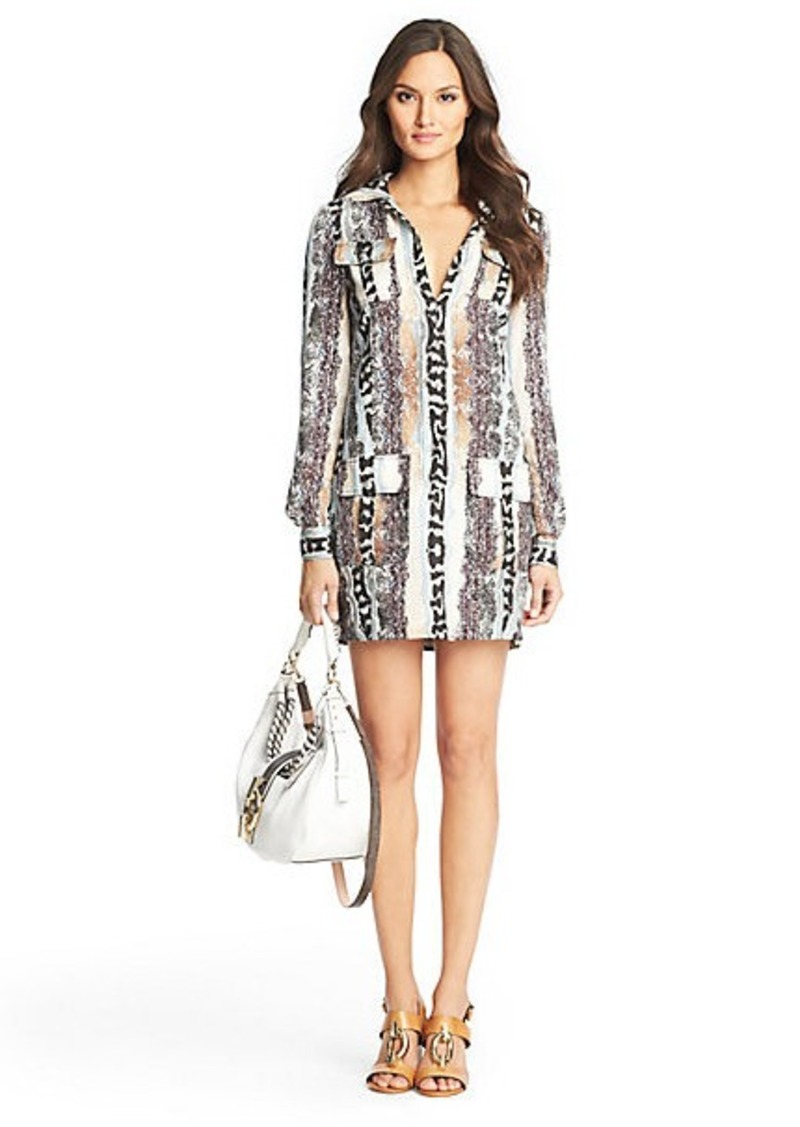 Diane Von Furstenberg Dilly Printed Linen Tunic Dress