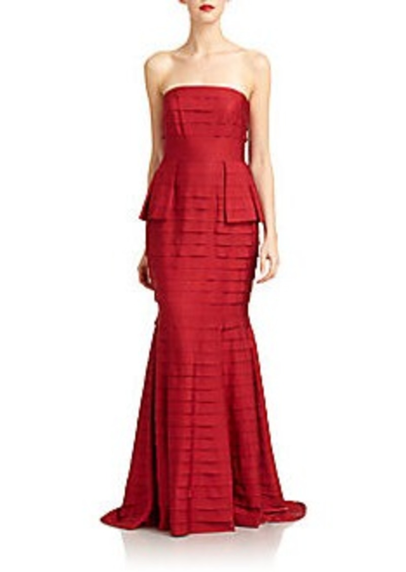 Carmen Marc Valvo Strapless Tiered Grosgrain Gown