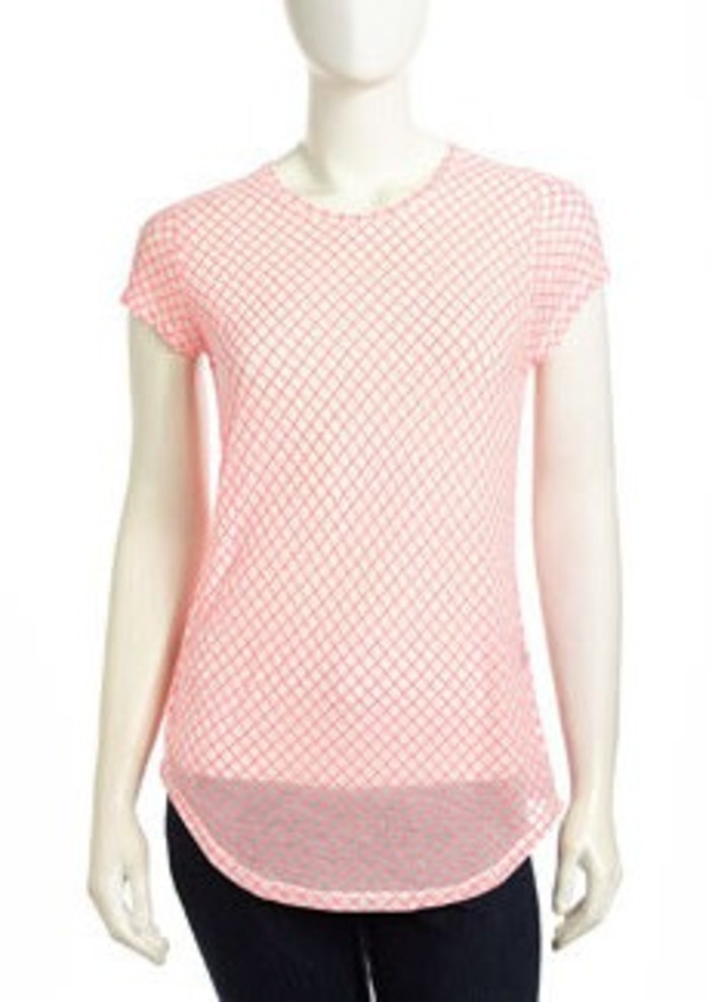 L.A.M.B. Diamond-Patterned Voile Tee, Punk Pink
