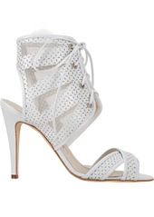 Manolo Blahnik Vestalabar Perforated-Leather Cutout Sandals