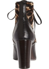 Lanvin Snakeskin & Haircalf Lace-Up Ankle Boot