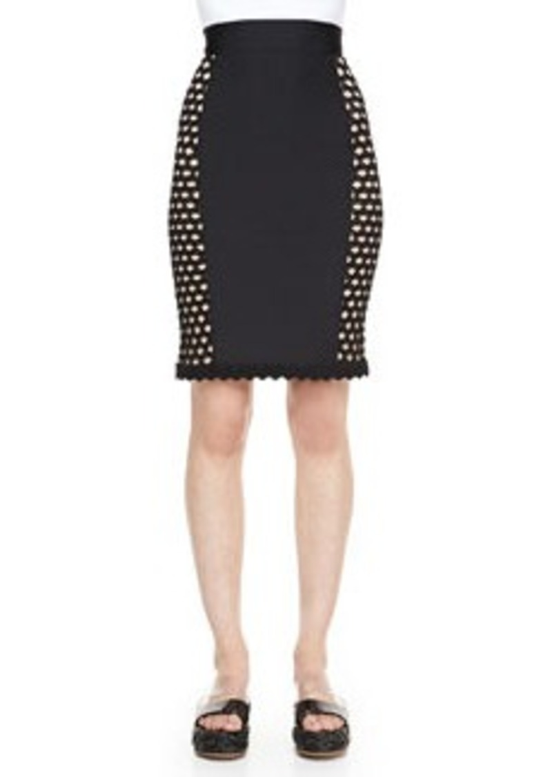 Jean Paul Gaultier Side-Crochet Fitted Skirt, Black   Side-Crochet Fitted Skirt, Black