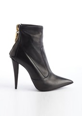 Giuseppe Zanotti black leather pointed toe heel ankle boots