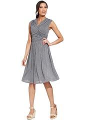 Charter Club Petite Cap-Sleeve Printed Faux-Wrap Dress