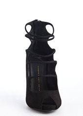 Giuseppe Zanotti black suede strap cut out peep toe pumps