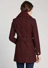 Kenneth Cole New York concord red wool blended knit collar double breasted peacoat