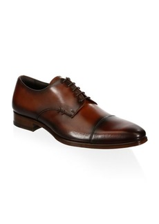 A. Testoni Cap Toe Leather Derbys