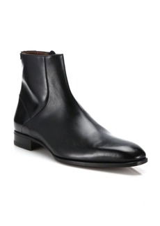 A. Testoni Leather Ankle Boots