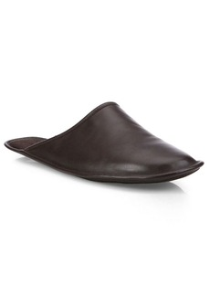 A. Testoni Nero Open Back Lux Leather Slippers