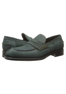 A. Testoni Barbour Suede Loafer w/ Half Rubber Sole