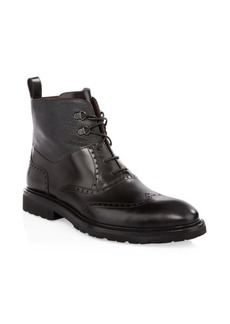 A. Testoni Leather Derby Boots