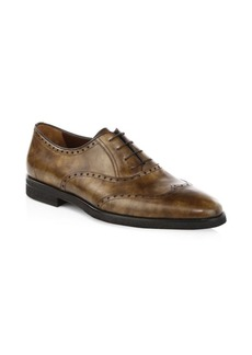 A. Testoni Royal Leather Derby Oxfords