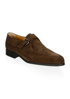A. Testoni Single Monk-Strap Suede Loafers