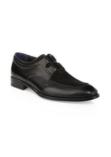 A. Testoni Suede Lace-Up Dress Shoes