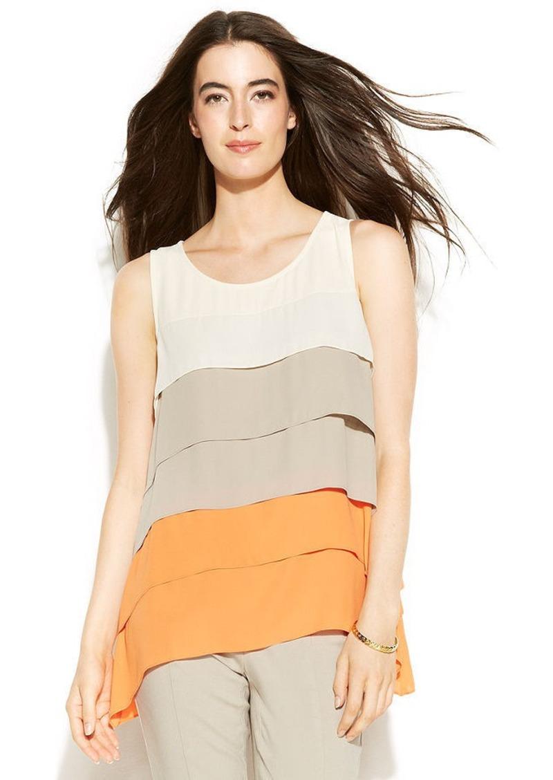 Alfani Petite Sleeveless Tiered Colored Top