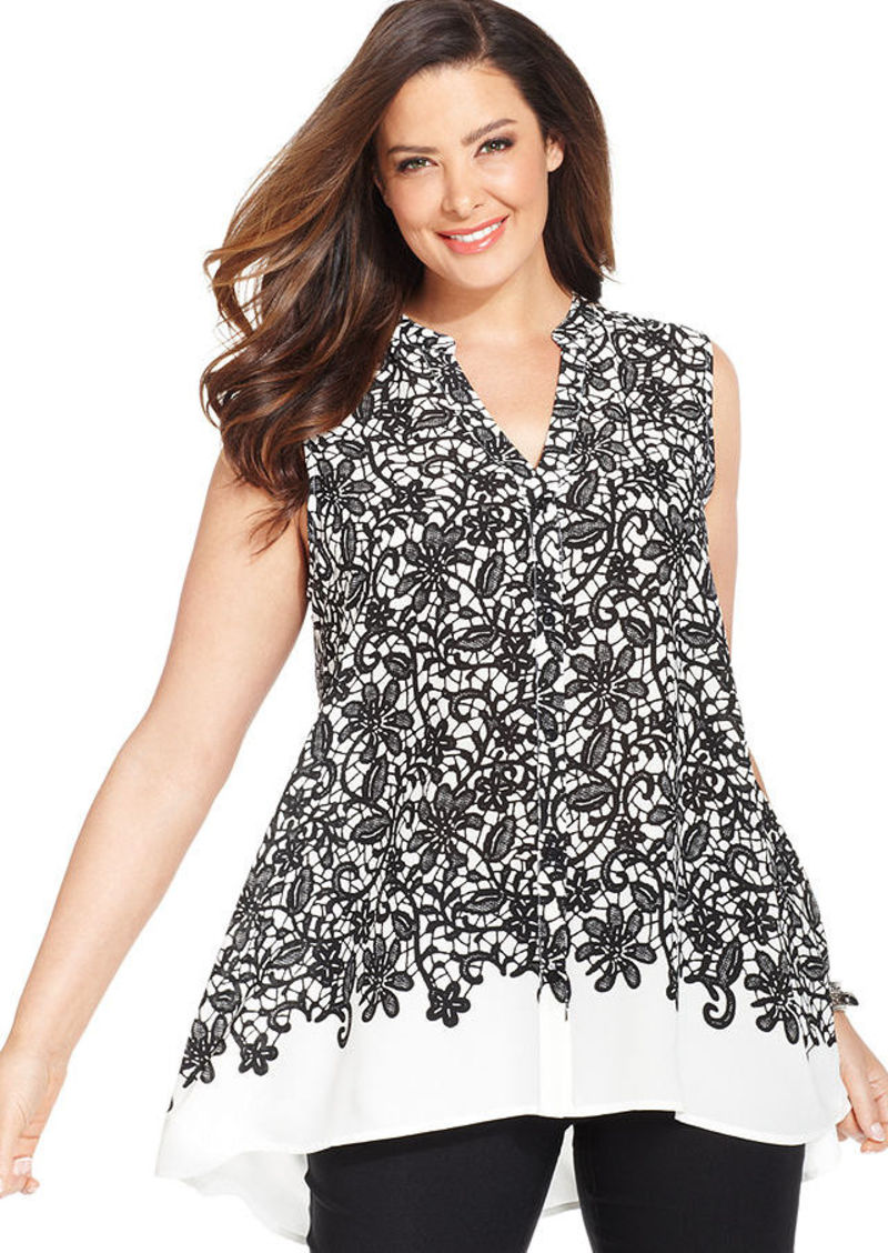 Alfani Plus Size Button-Front Printed Tunic