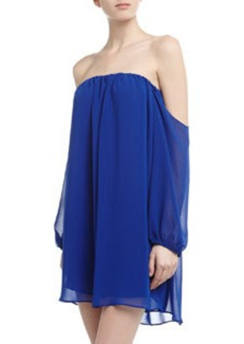 T-Bags T Bags Off-The-Shoulder Chiffon Shift Dress, Royal Blue