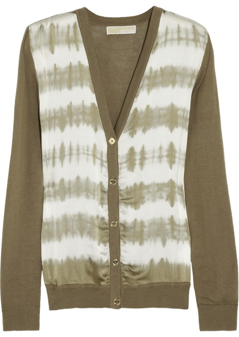 MICHAEL Michael Kors Tie-dyed stretch-silk and cotton-blend cardigan