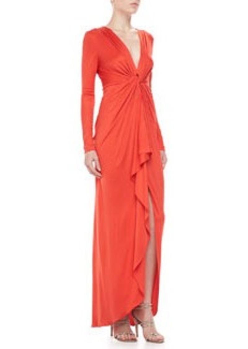 Catherine Malandrino Long-Sleeve Ruffle-Front Gown   Long-Sleeve Ruffle-Front Gown