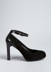 Tod's black suede and patent ankle strap pumps