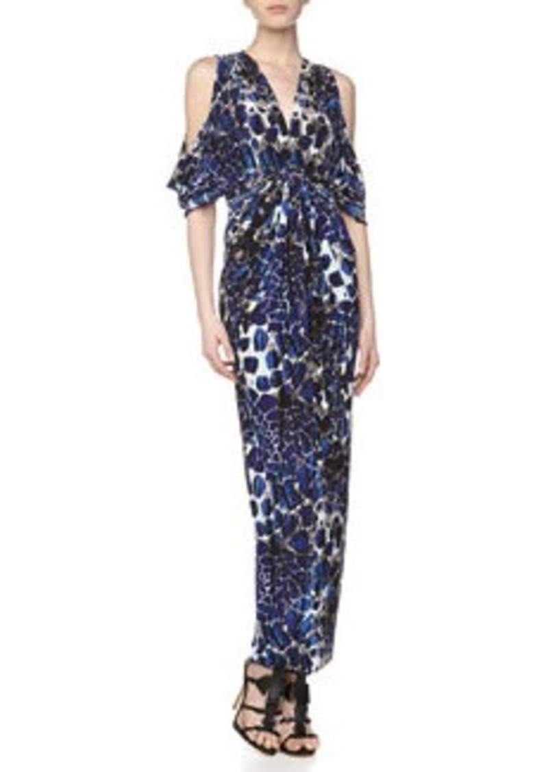 T-Bags T Bags Deep-V Stretch Maxi Dress, Navy Print