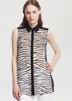 Kenneth Cole New York Terry Zebra Print Blouse