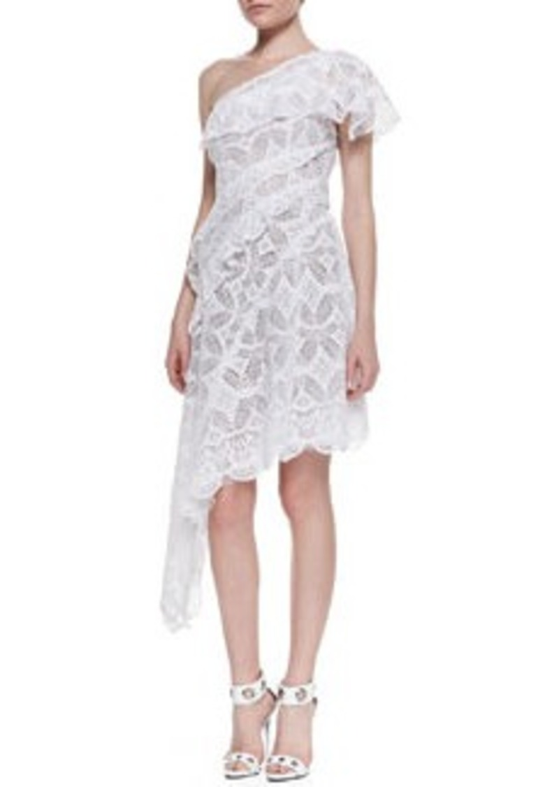 Catherine Malandrino One-Shoulder Asymmetric Lace Cocktail Dress, Blanc   One-Shoulder Asymmetric Lace Cocktail Dress, Blanc