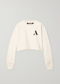 AARMY Cropped Printed Cotton-blend Jersey Sweatshirt