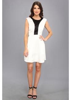 ABS Allen Schwartz Color Blocked Bodice Fit & Flare Dress