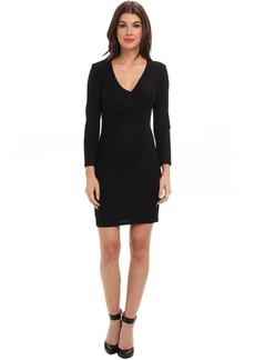 ABS Allen Schwartz Crepe Drape Front Faux Wrap Dress