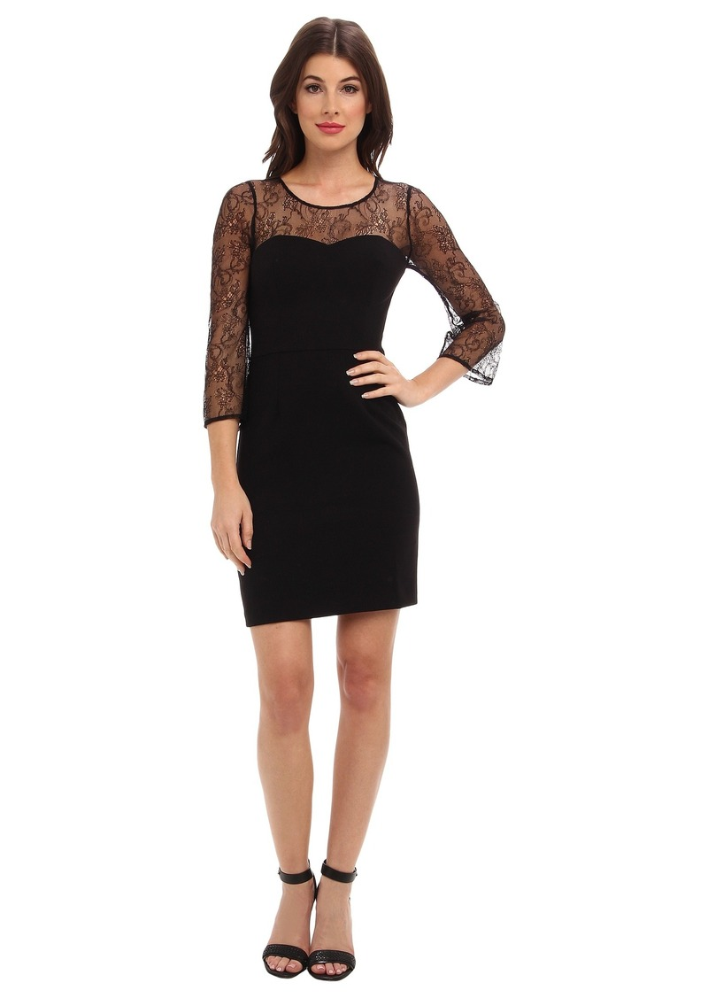 ABS Allen Schwartz Crepe Woven Sheath with Lace Sleeves