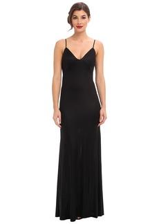 ABS Allen Schwartz Gloss Jersey Slip Gown w/ Low Back Cascade