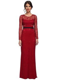 ABS Allen Schwartz L/S Lace Gown w/ Contrast Waistband