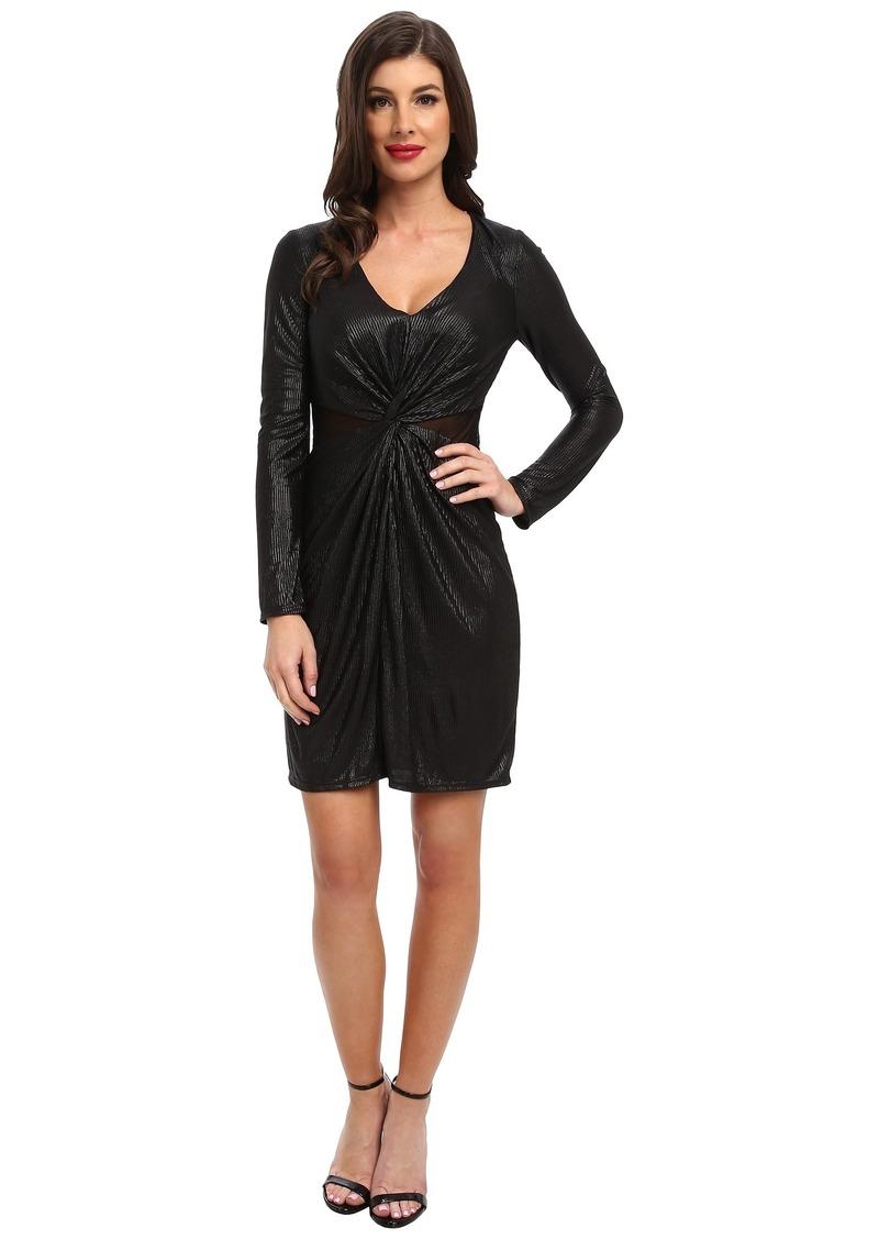 ABS Allen Schwartz L/S Twist Front Gloss Foil Jersey Wrap Dress