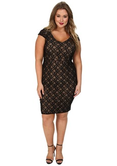 ABS Allen Schwartz Plus Size Deep V-Neck Lace Sheath