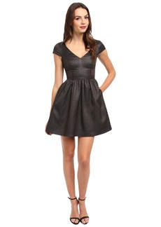 ABS Allen Schwartz Sharkskin Jacquard S/S Cinch Dress