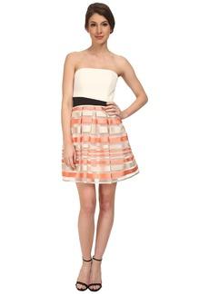 ABS Allen Schwartz Strapless Cocktail Dress w/ Stripe Skirt
