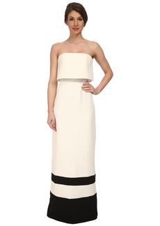 ABS Allen Schwartz Strapless Gown w/ Stripe Hem
