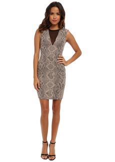 ABS Allen Schwartz Stretch Python Jacquard Dress with Deep V