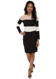 ABS Allen Schwartz Stripe Block Long Sleeve Dress w/ Sheer Panels