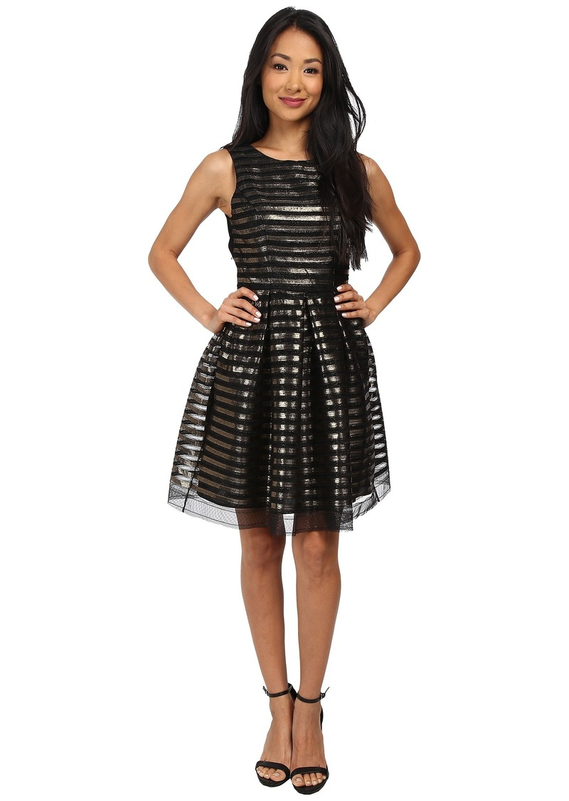 ABS Allen Schwartz Stripe Metallic Sleeveless Cocktail Dress w/ Back Detail