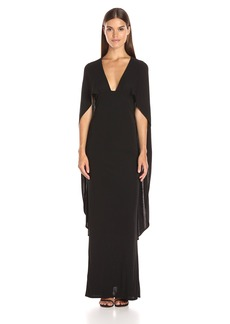 ABS Allen Schwartz Women's Cape Gown with Deep-V Front in Matte Jersey