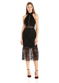 ABS Allen Schwartz Women's Detailed Halter Lace Dress with Mermaid Hem