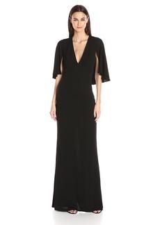 ABS Allen Schwartz Women's Matte Jersey Gown W/Capelet Sleeves  L