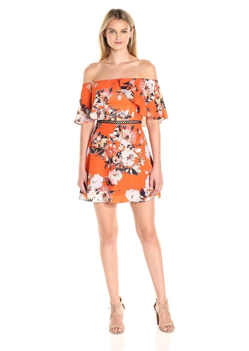 ABS Allen Schwartz Women's Off-Shoulder Summer Floral Print Dress