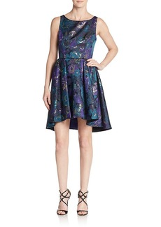 ABS A.B.S. By Allen Schwartz Floral Jacquard Cutout A-Line Dress
