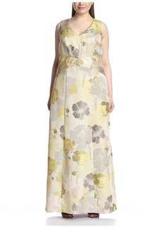 ABS A.B.S. by Allen Schwartz Plus Women's Floral Gown with Mesh Insets